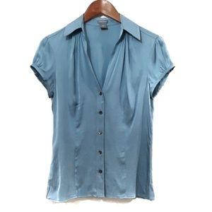 Ann Taylor Stretch Silk Short Sleeve Blouse 4